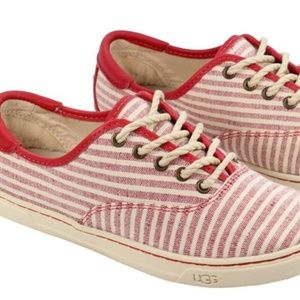 UGGS Red and White Striped Sneakers